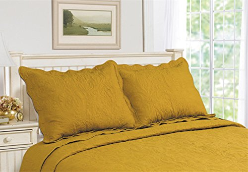 all for you 2 piece embroidered quilted pillow shams king size total 10 colors gold