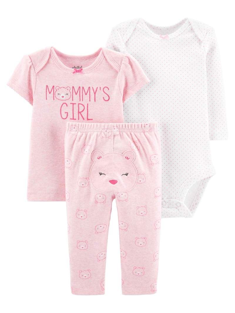 Child of Mine by Carter's Baby Girl Outfit Long Sleeve, Bodysuit, T-Shirt & Pants, 3-Piece