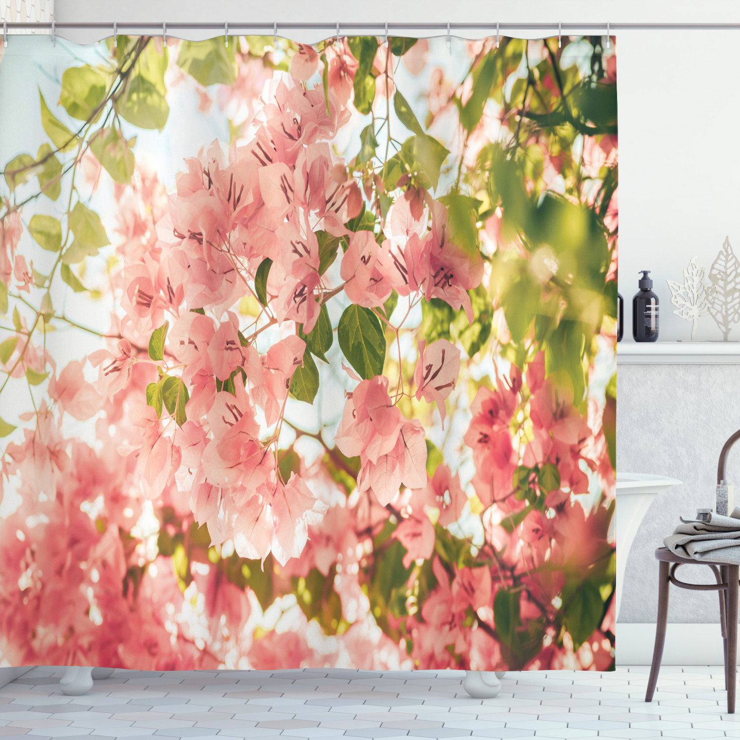 spring shower curtain bougainvillea flowers branches in sunny summer blossoms nature park view fabric bathroom set with hooks 69w x 84l inches
