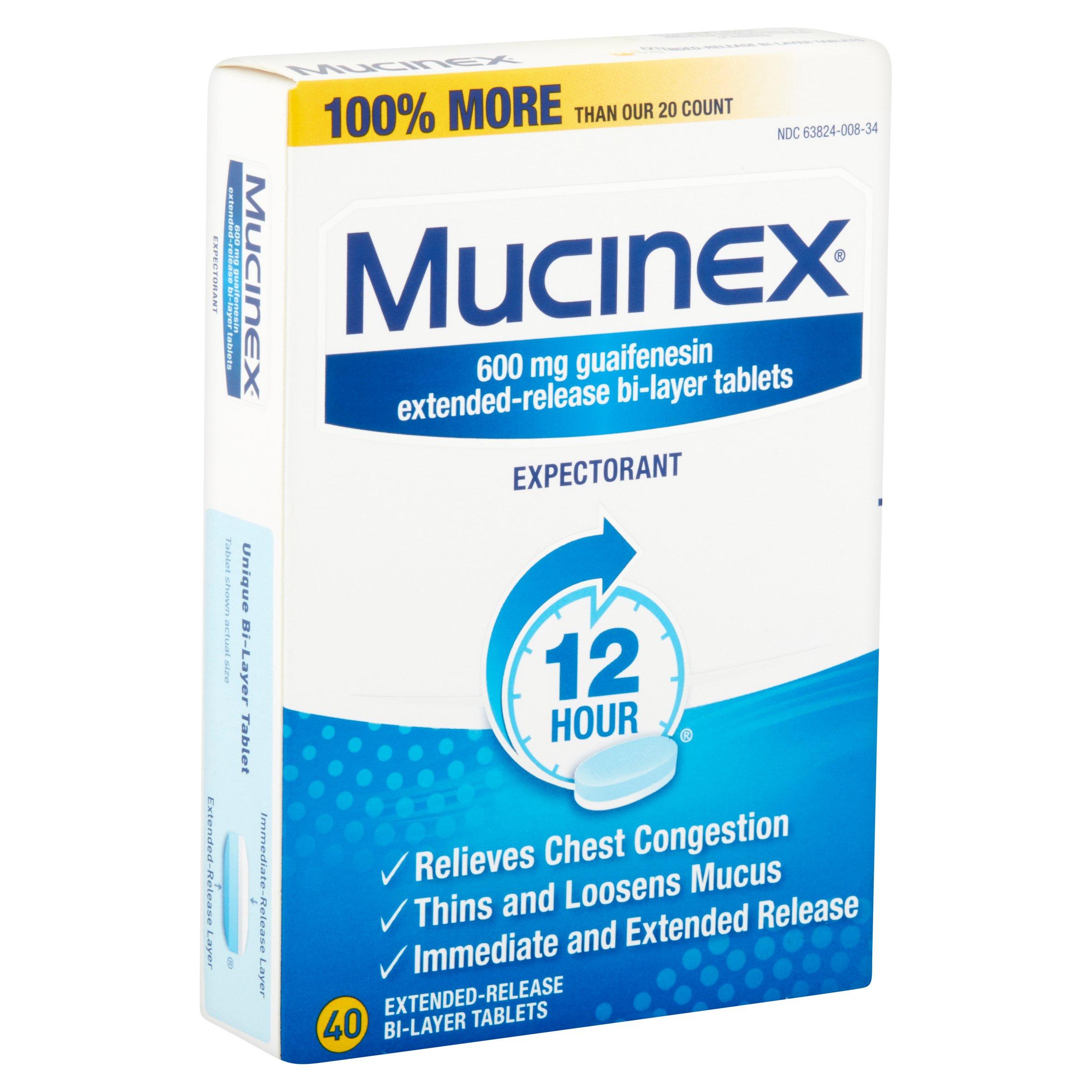 Mucinex Expectorant 600 mg Guaifenesin Extended Release Bi ...