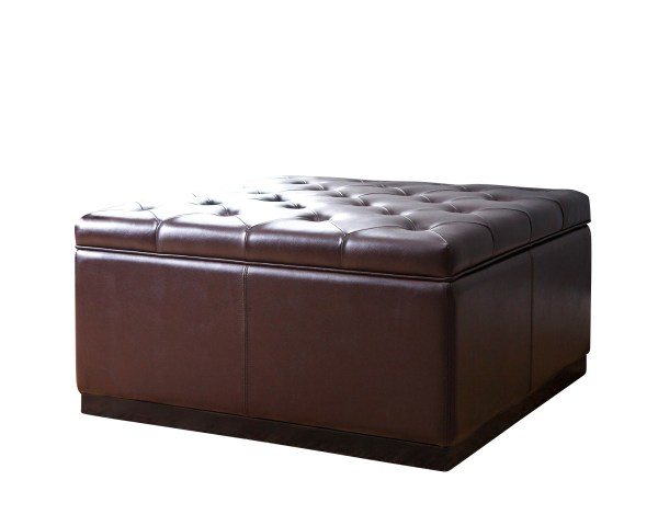 Felicia Dark Brown Leather Tufted Square Storage Ottoman