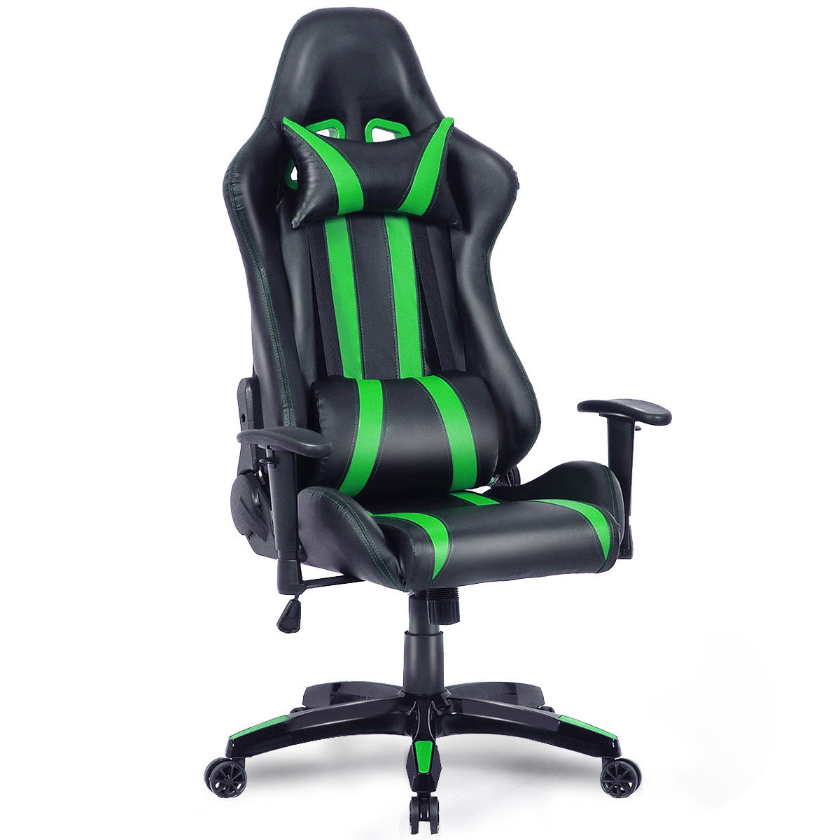 computer chairs for gaming slipcovered chair and a half costway executive racing style high back reclining office black green walmart com
