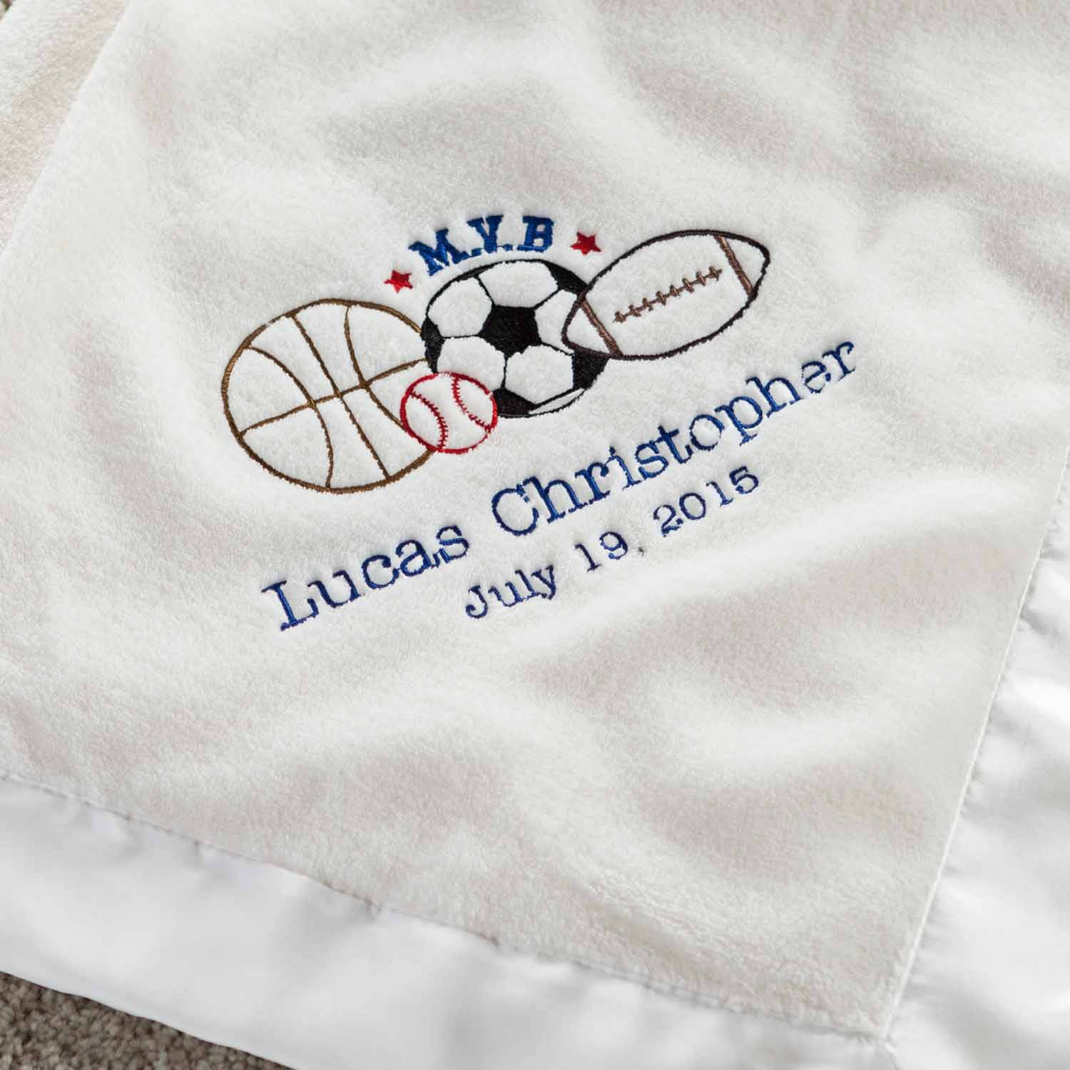 Personalized M.V.B Cream Baby Blanket