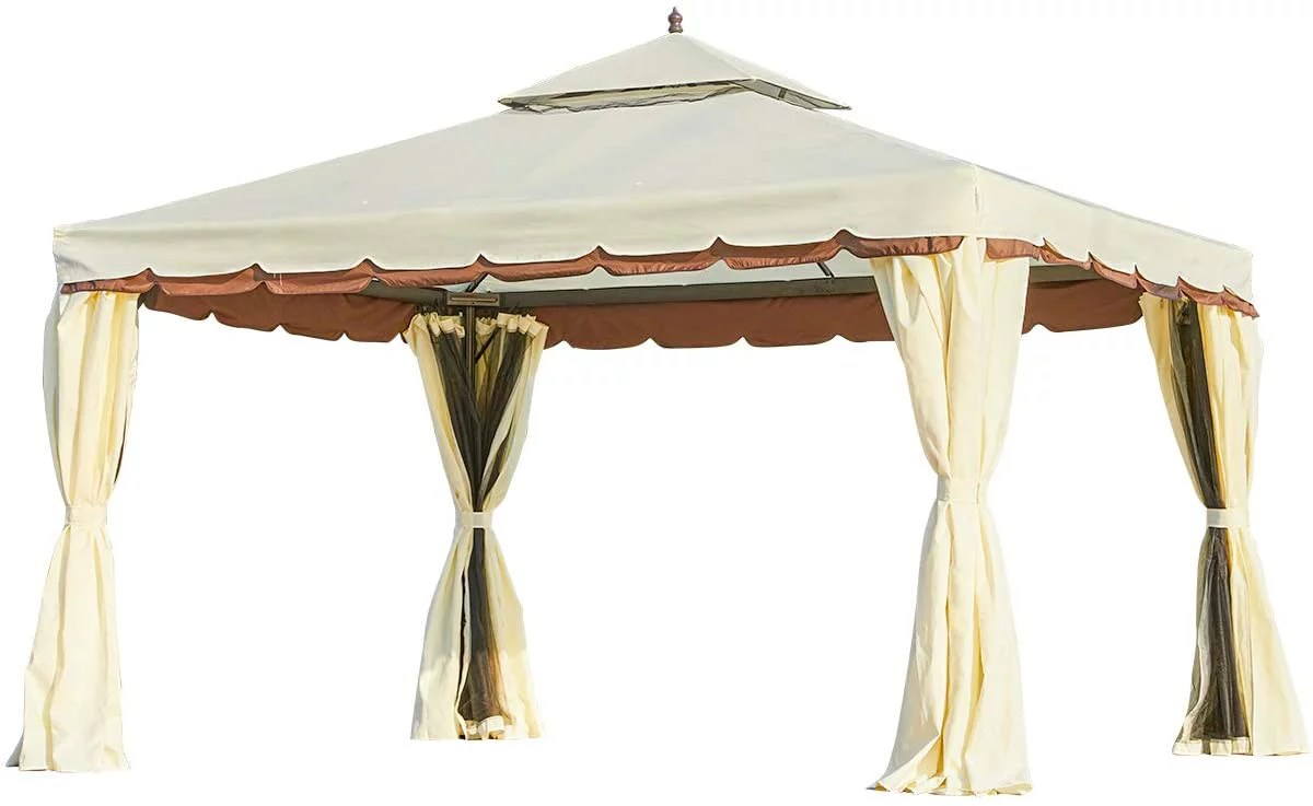 erommy 10 x 12 outdoor gazebo canopy aluminum frame soft top outdoor patio gazebo with polyester curtains and air venting screens 026cream