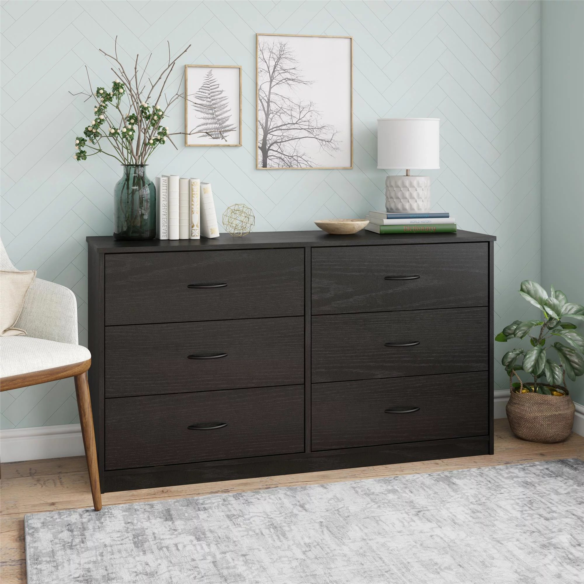 mainstays classic 6 drawer dresser walnut