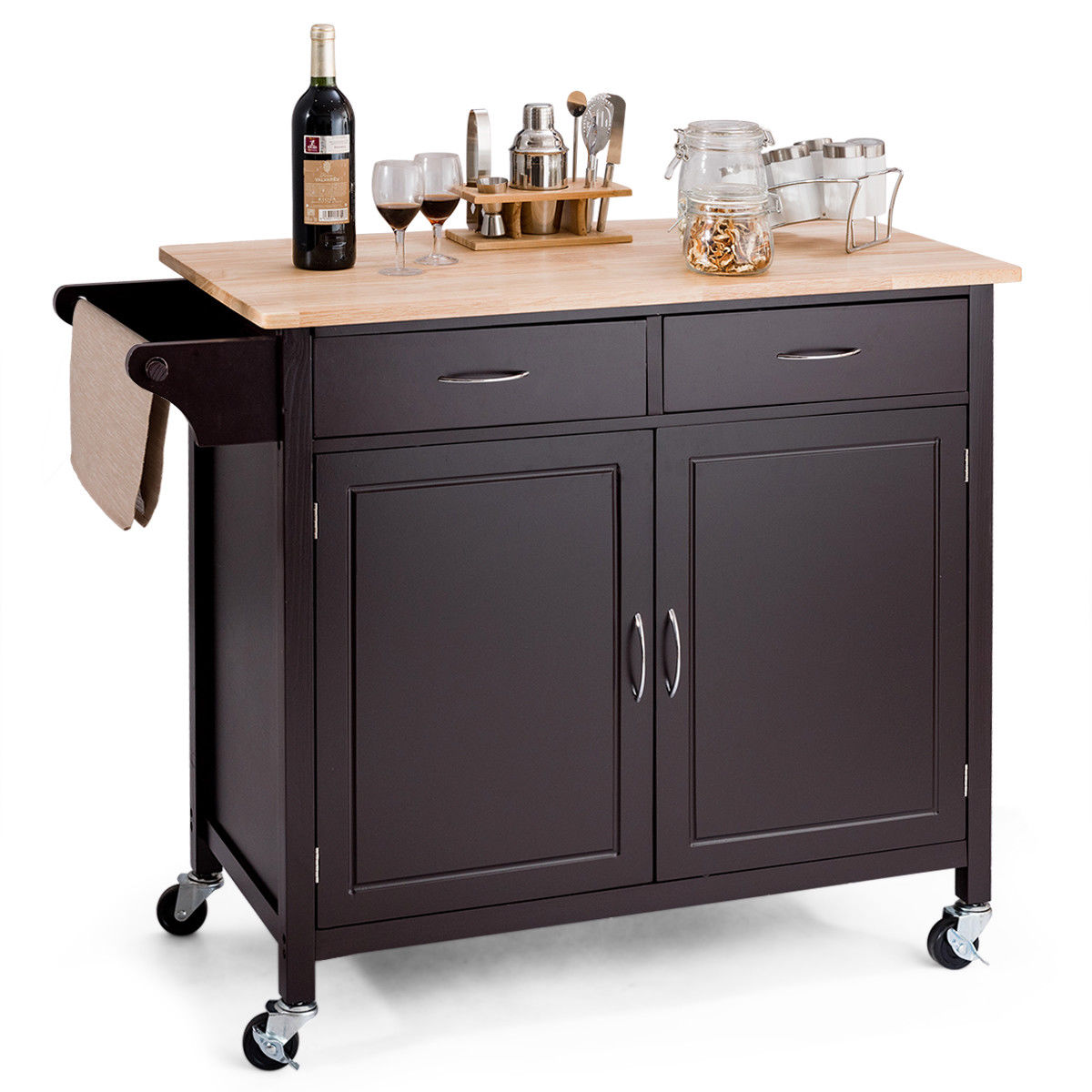 rolling kitchen cabinet pull out shelves costway modern cart island wood top storage trolley utility new walmart com