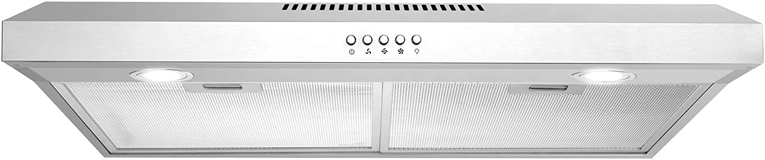 cosmo 5u30 30 in under cabinet range hood with ducted ductless convertible slim kitchen over stove vent 3 speed exhaust fan reusable filter led