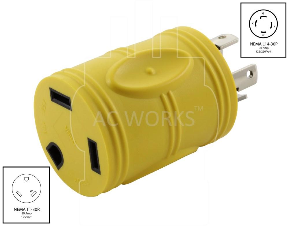 medium resolution of ac works rvl1430tt generator 4prong l14 30p 30amp locking plug to rv tt 30 rv 30amp female connector walmart com