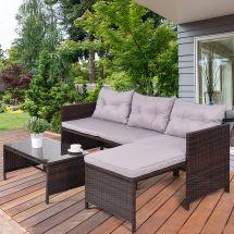 gymax 3pc rattan furniture set