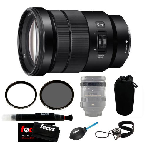 Sony SELP18105G 18-105mm Lens w/ 72mm CP & UV Filters + Lens Case Accessory Kit