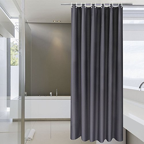 aoohome stall shower curtain 36 x 72 inch solid fabric bathroom curtain for hotel with hooks waterproof dark grey