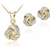 Diamond Accent Gold-Tone Love Knot Necklace and Earrings ...