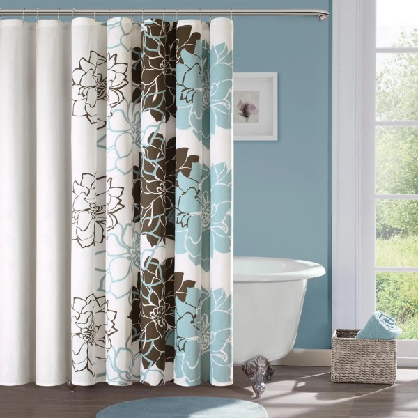 Home Essence Jane 100 Cotton Sateen Floral Printed Shower Curtain