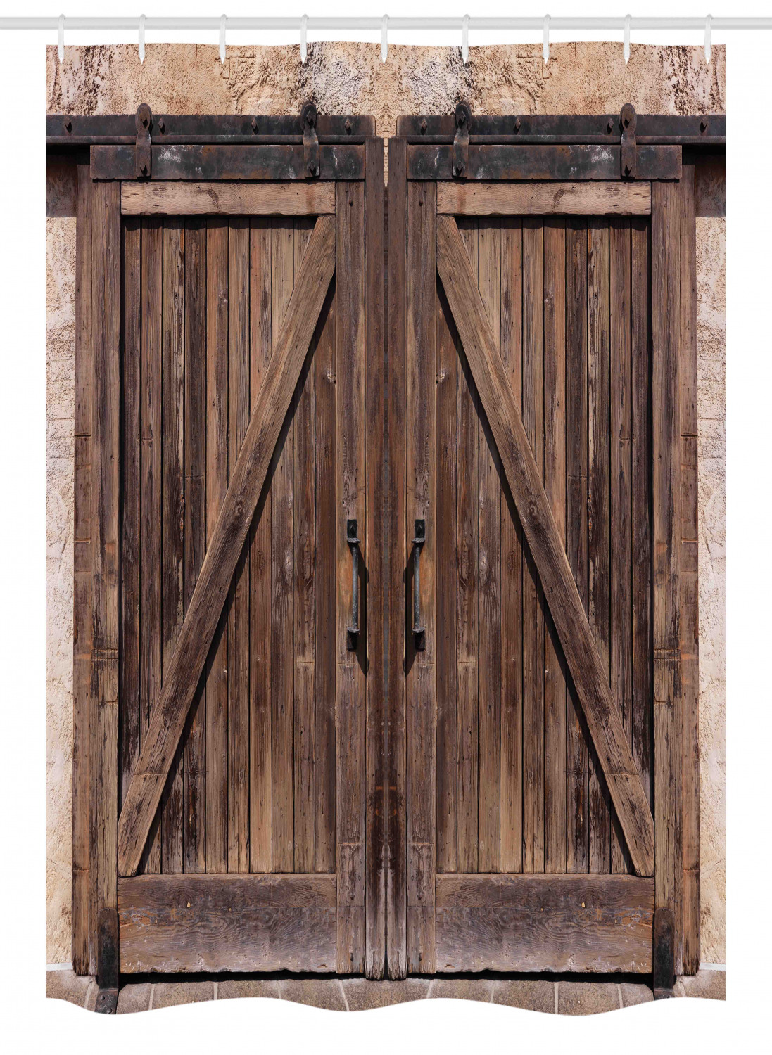 rustic stall shower curtain wooden barn door in stone farmhouse image vintage desgin rural art architecture print fabric bathroom set with hooks