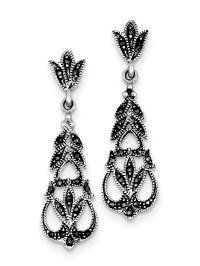Sterling Silver Marcasite Earrings - Walmart.com