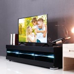 57 Tv Stand Cabinet W Led Lights For Flat Tv Screens 40 55 Inch In Home Dormitory Diy Furniture High Gloss Walmart Com Walmart Com
