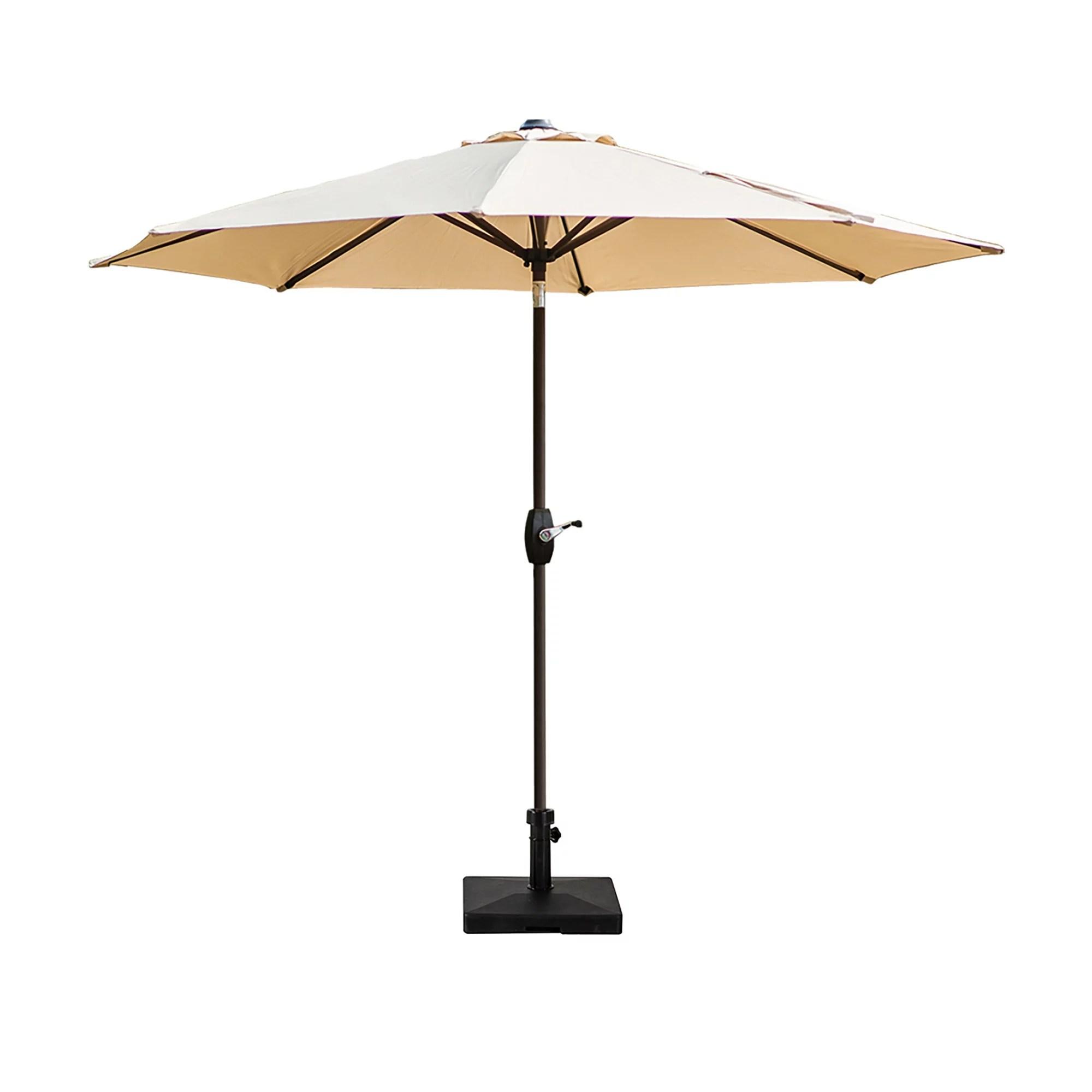 9 ft outdoor patio market table umbrella with square concrete base beige