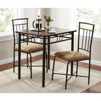 Mainstays 3 Piece Wood and Metal Dining Set - Walmart.com