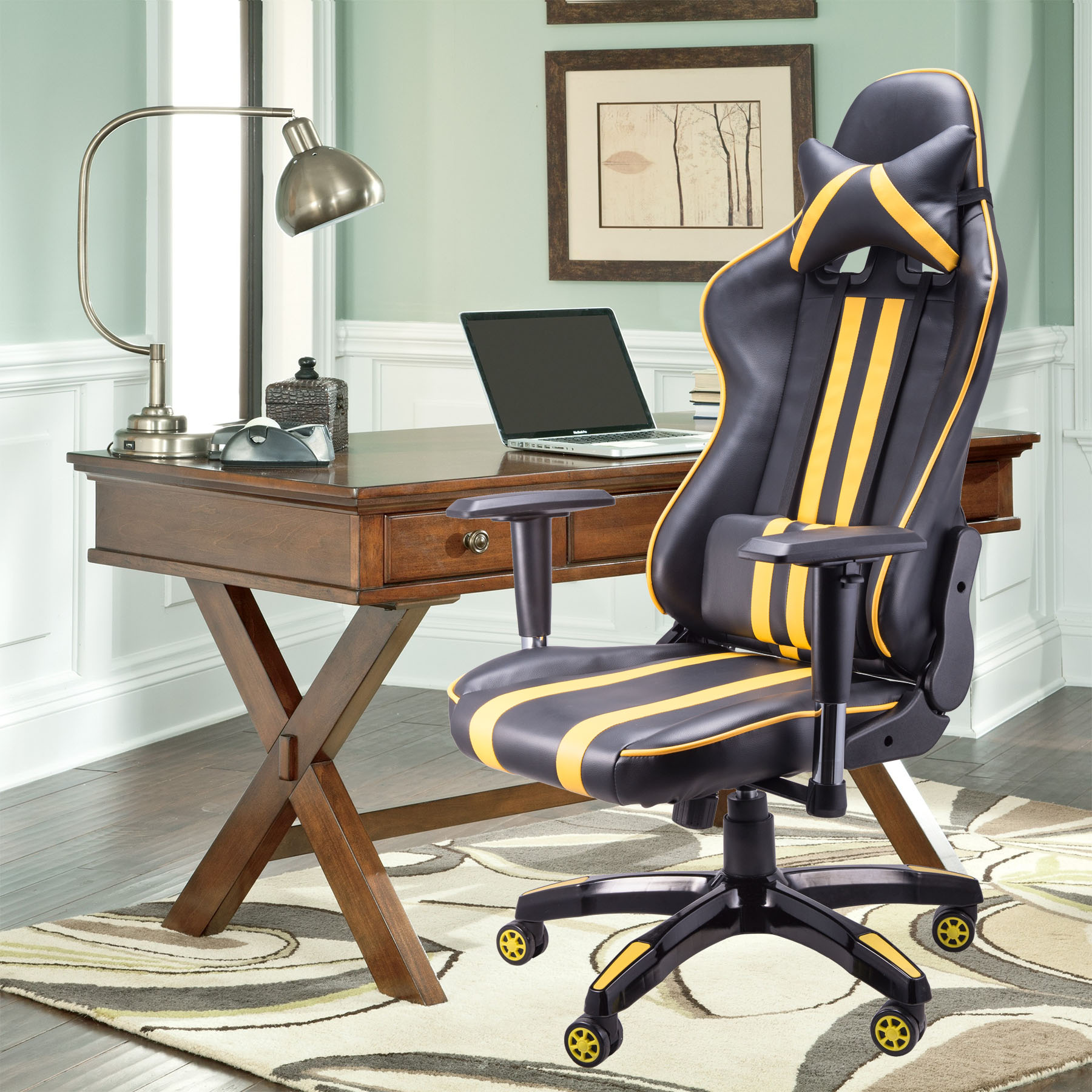 office chair that sits higher cover rentals mobile al racing style desk w high backrest comfort for