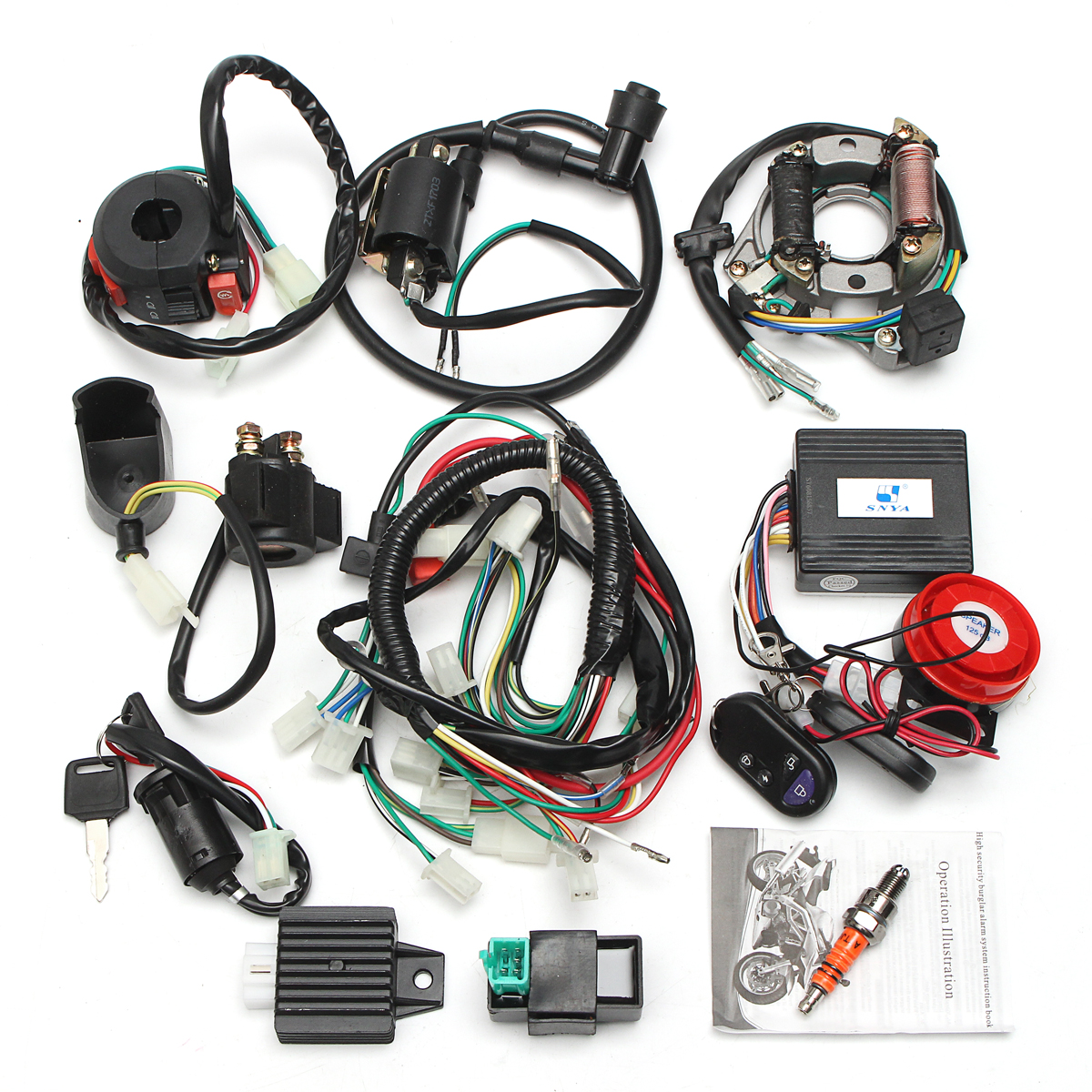 hight resolution of two holes full electrics wiring harness coil cdi 50cc 70cc 110cc 125cc atv remote engineaccessorie start switch walmart com