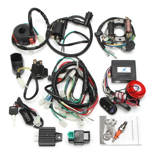 small resolution of two holes full electrics wiring harness coil cdi 50cc 70cc 110cc 125cc atv remote engineaccessorie start switch walmart com