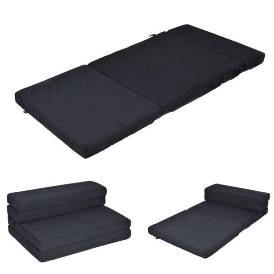 Queen Size 4 Quart Fold Foam Folding Mattress Futon Sleepover Sofa Bed Guest