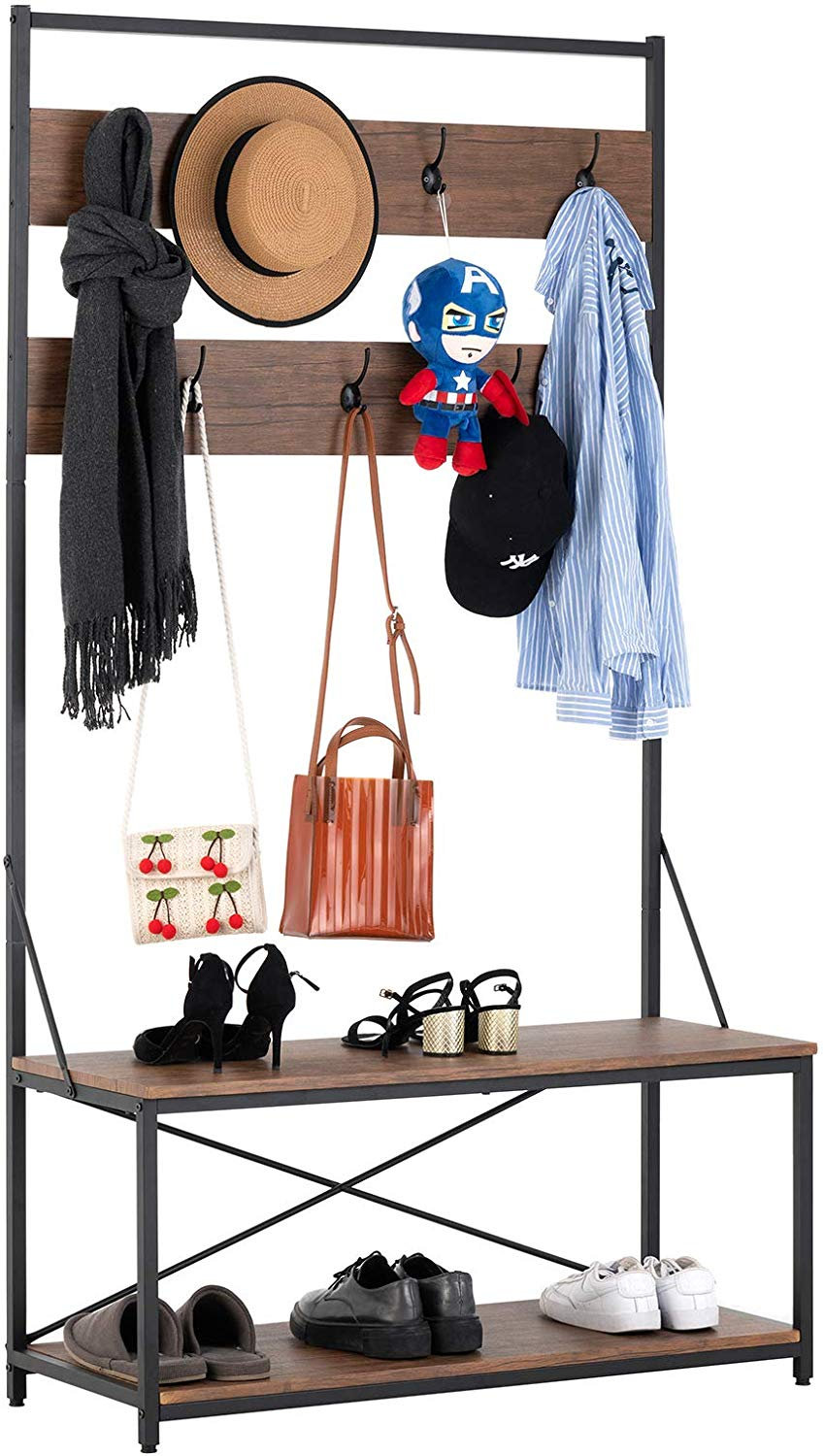 mecor 3 in 1 industrial coat rack hall tree entryway shoe bench with 2 tier shoe bench and coat rack with 7 hooks large size easy to assemble