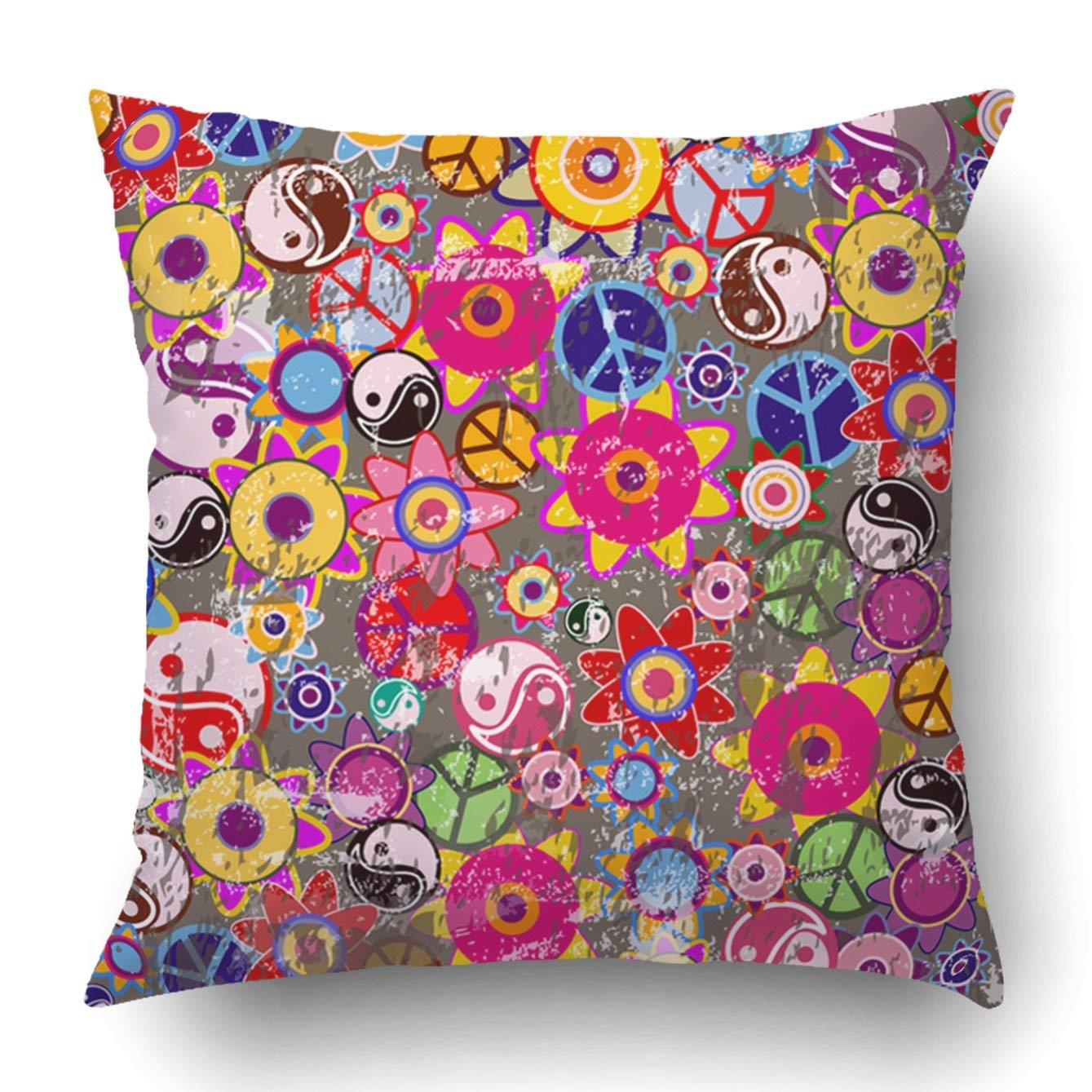 bright colored sofa pillows white loveseat bed bpbop grunge hippies background colorful