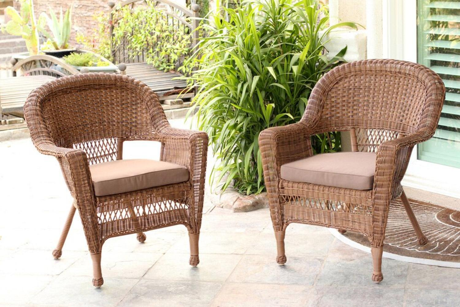 comfortable wicker chairs ikea foldable set of 2 honey resin outdoor patio garden brown cushions walmart com