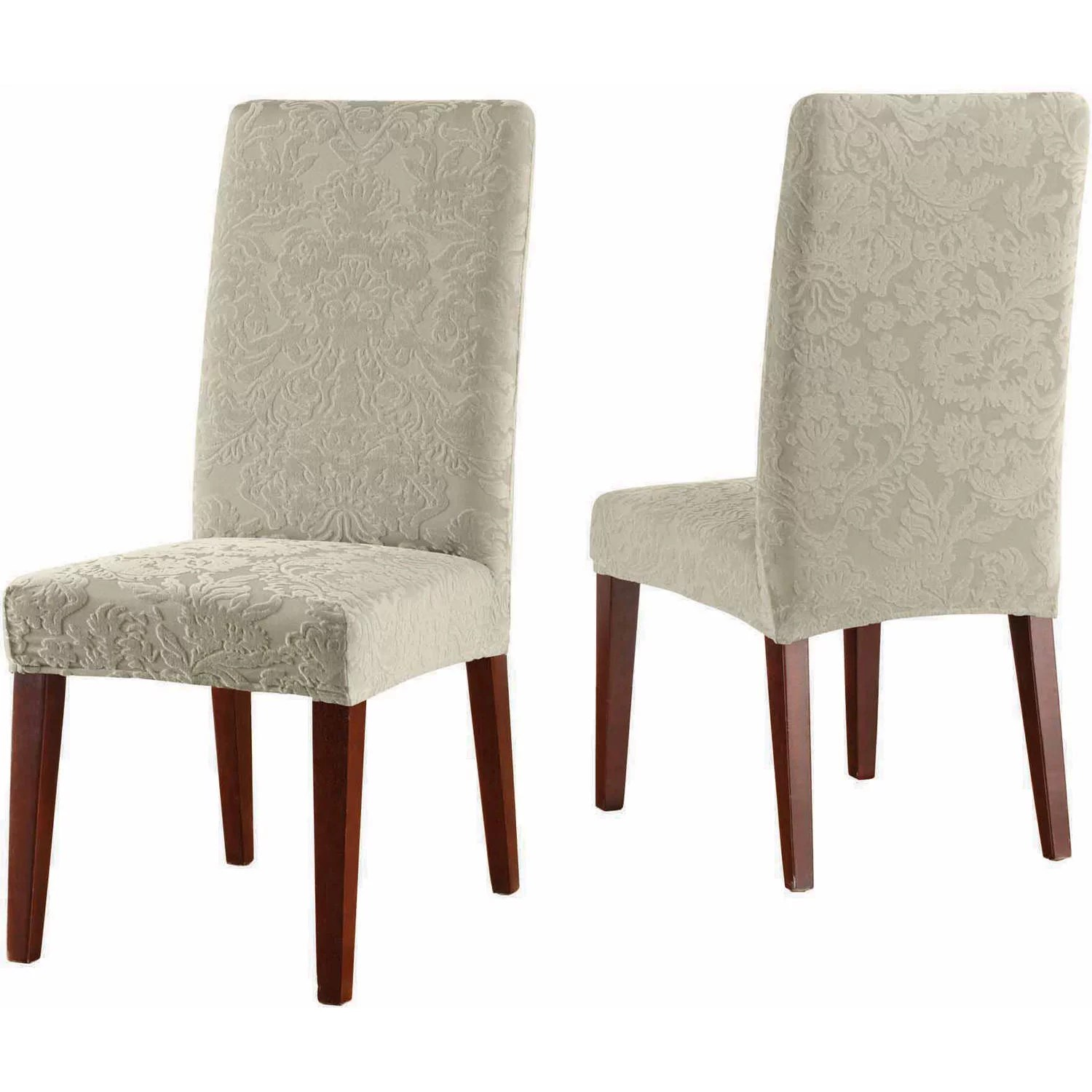 Sure Fit Stretch Jacquard Damask Short Dining Room Chair