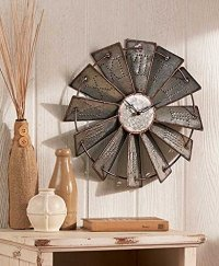 Metal Windmill Rustic Country Primitive Clock Wall Decor ...