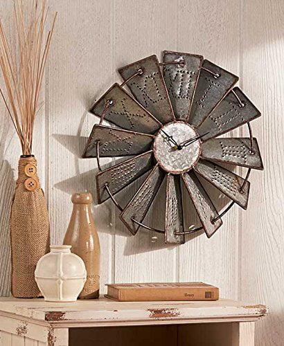 Metal Windmill Rustic Country Primitive Clock Wall Decor