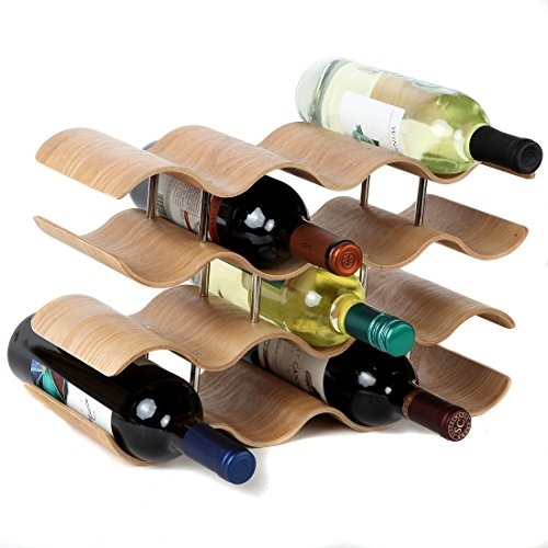 lily s home countertop wave wine rack wood elegant and modern table top wine storage oak 14 bottles