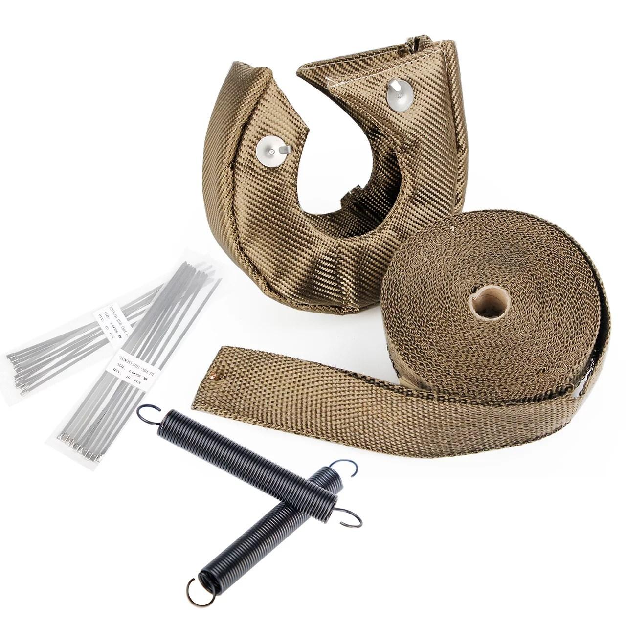 carbole t3 titanium turbo heat shield blanket cover 2 50ft exhaust header wrap tape