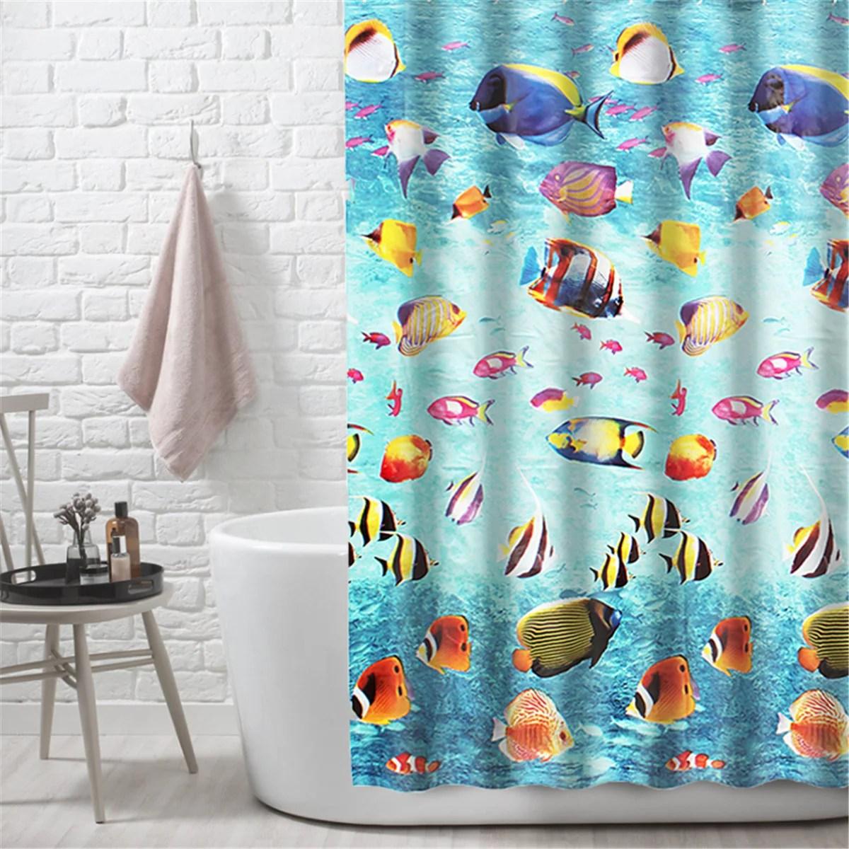 underwater shower curtain ocean transparent underwater landscape with tropical fish eva clear plastic bathroom shower curtain mildew resistant
