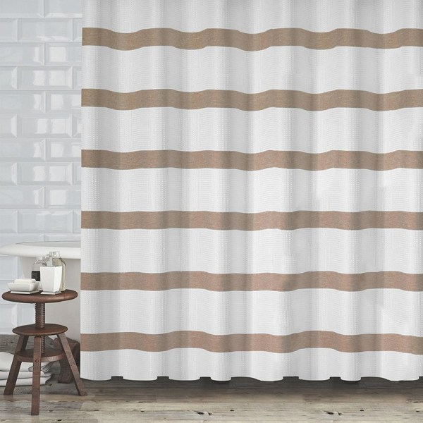 Mulberry Striped Fabric Shower Curtain Waffle Weave 70