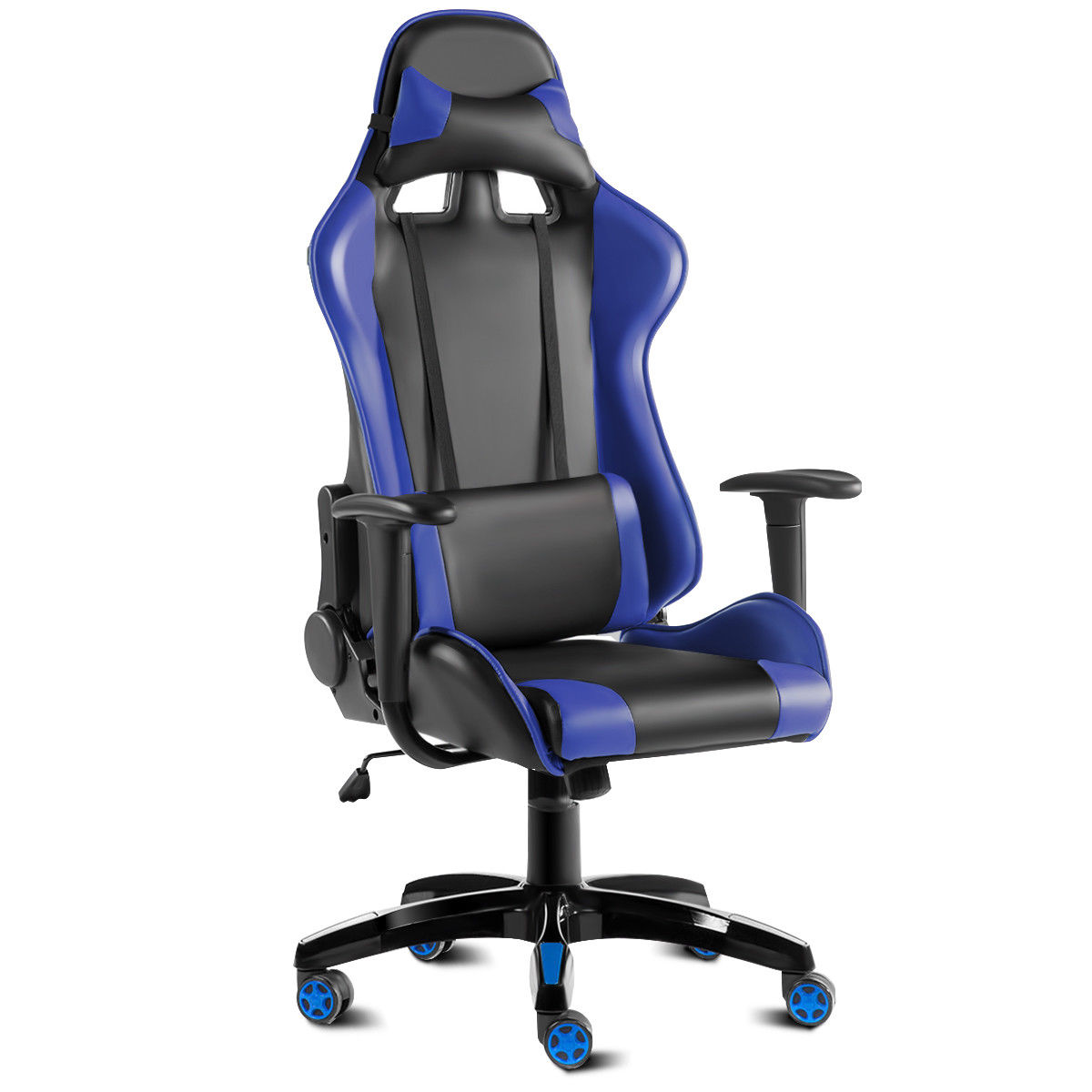 reclining gaming chair cowhide dining room covers costway high back racing style office executive task computer blue black walmart com