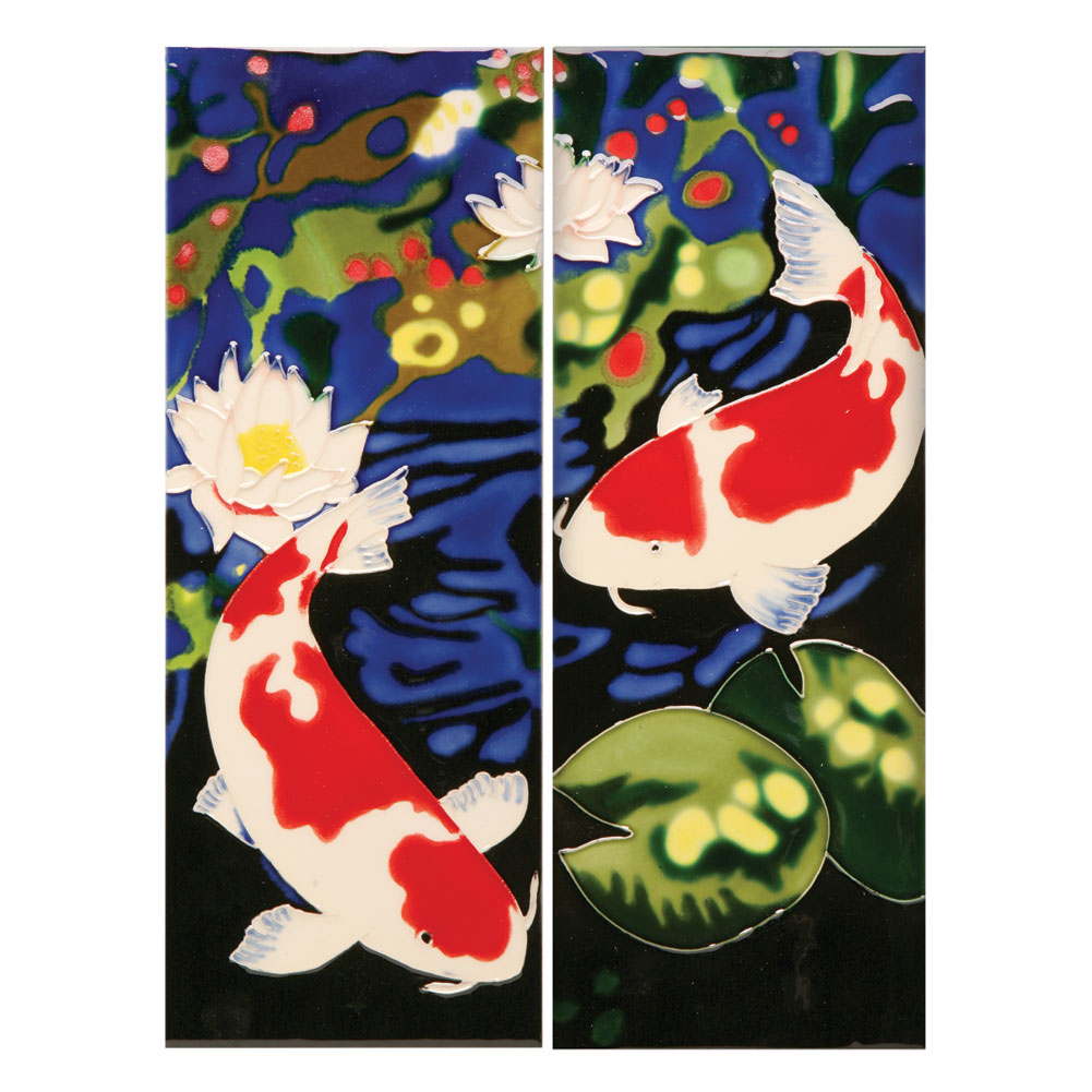 handmade koi fish ceramic wall art tiles set of two walmart
