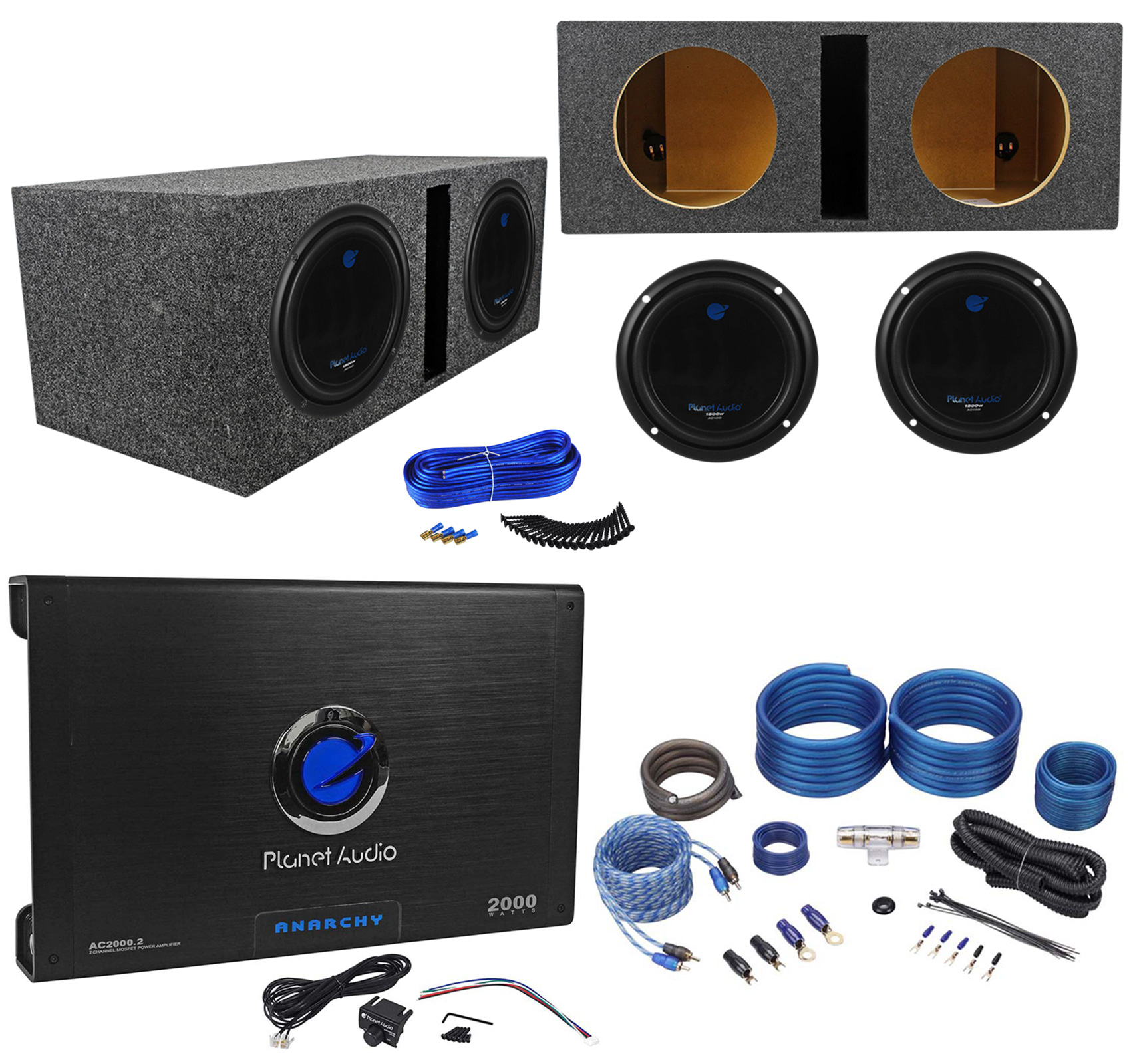 hight resolution of 2 planet audio ac10d 10 3000w subwoofers vented sub box 2 ch amplifier amp kit