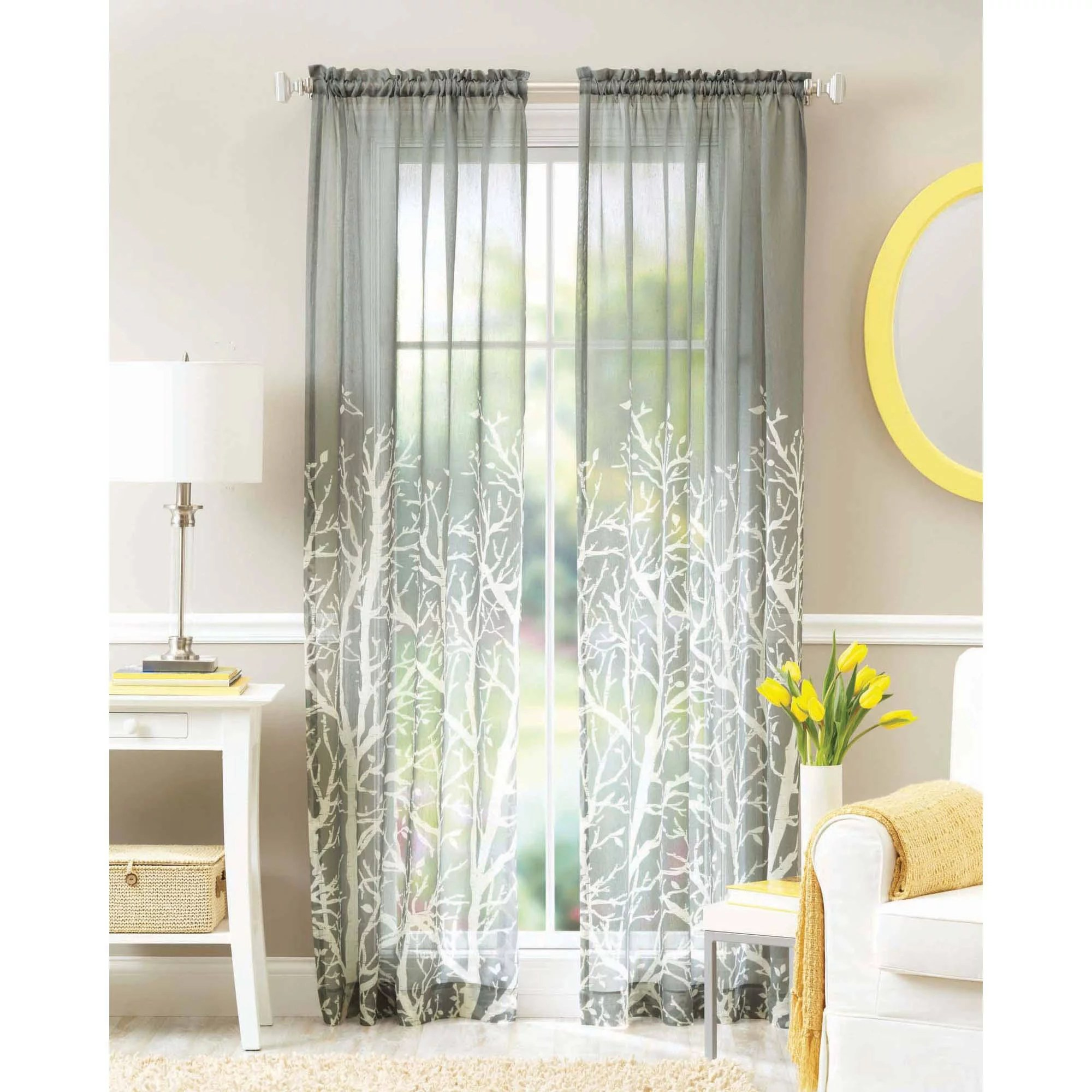 Sheer Voile Window Curtain Panel With Metal Grommets Leah