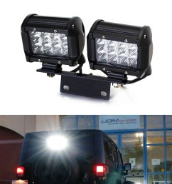 ijdmtoy 72w above 3rd brake dual led rear lighting kit w mounting bracket relay wiring switch for 2007 2017 jeep wrangler jk as driving search lights  [ 1500 x 1500 Pixel ]