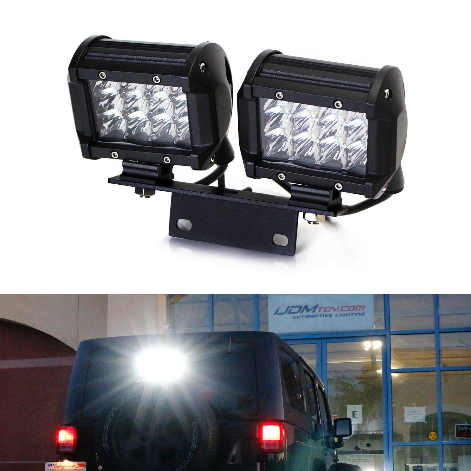 hight resolution of ijdmtoy 72w above 3rd brake dual led rear lighting kit w mounting bracket relay wiring switch for 2007 2017 jeep wrangler jk as driving search lights