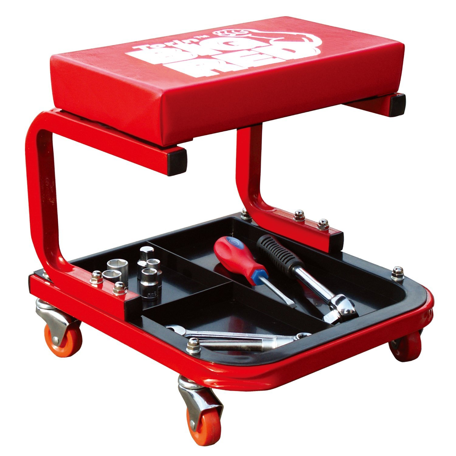 garage chairs rolling booster high tr6300 creeper shop seat padded mechanic stool with tool tray red by torin ship from us