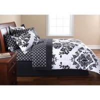 Mainstays Coordinated Bedding Set, Classic Noir Damask ...