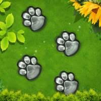 4 Solar Dog Animal Paw Print Lights Garden Statue Lantern ...