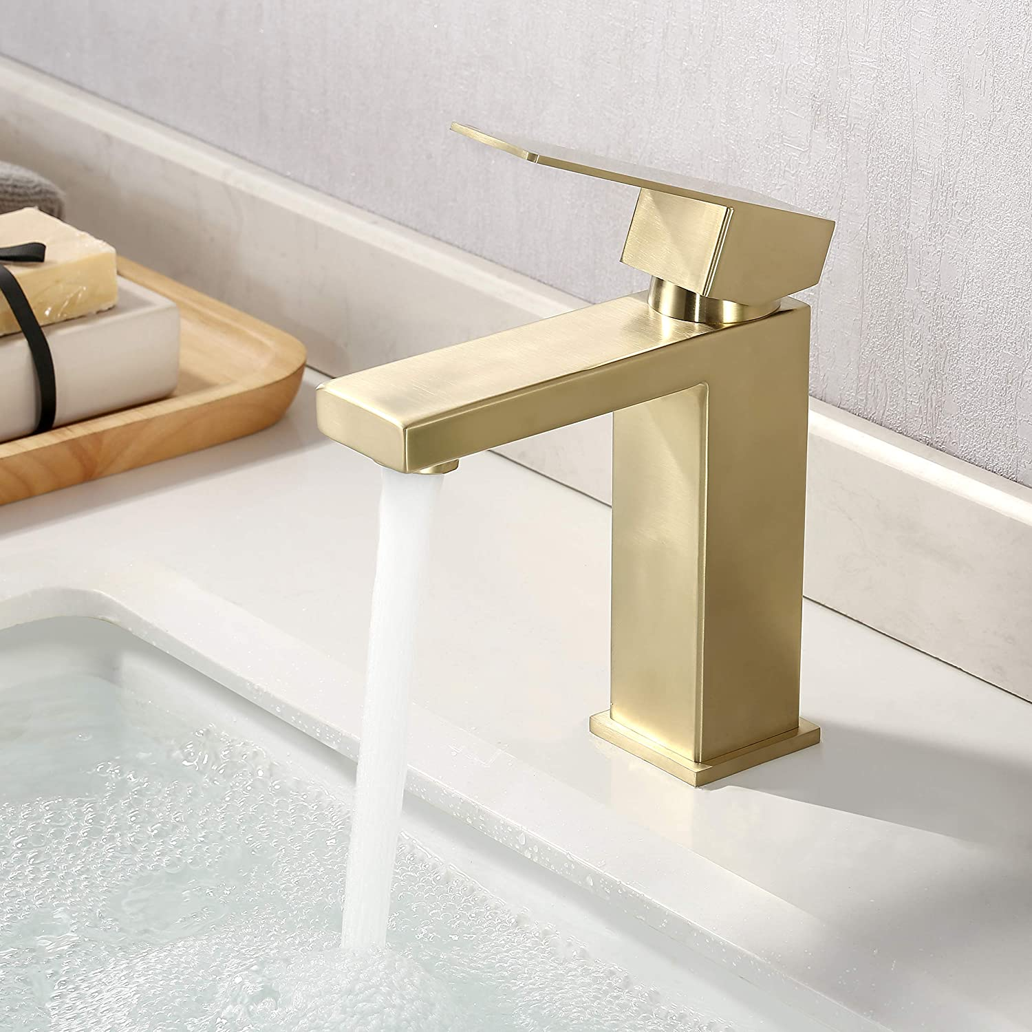 kes brushed gold bathroom faucet single hole modern vanity faucet single handle bathroom sink faucet stainless steel brushed brass finish l3156alf bz