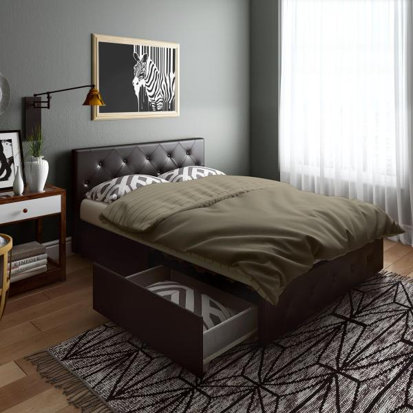 Contemporary Black Leather Storage Queen Bed Frame With 4