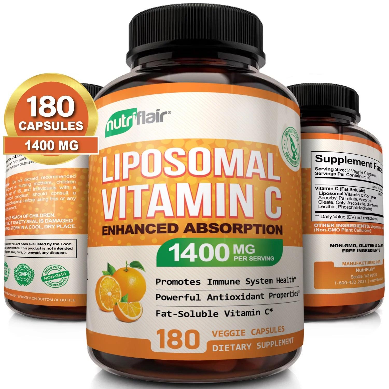 NutriFlair Liposomal Vitamin C 1400mg – 180 Capsules – High Absorption, Fat Soluble VIT C, Antioxidant Supplement, Higher Bioavailability Immune System Support & Collagen Booster, Non-GMO, Vegan Pills
