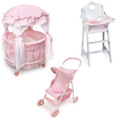 Badger Basket Doll High Chair Rocky Folding Outdoor Chairs Royal Pavilion Crib Furniture Set Feature