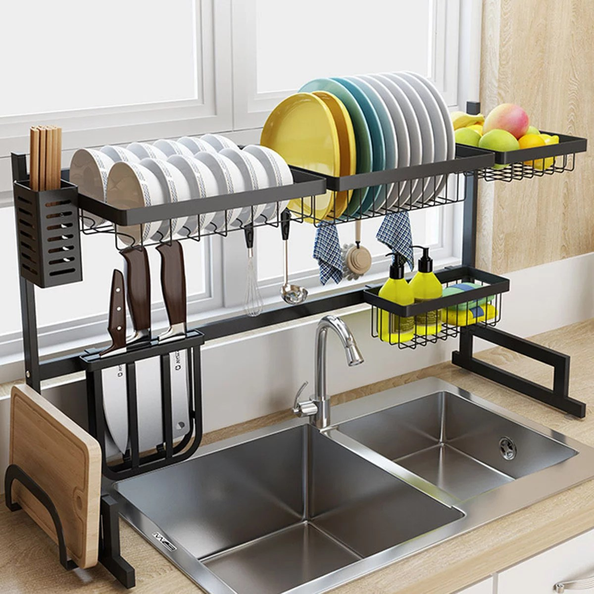 over the sink dish drying rack 2 cutlery holders drainer shelf for kitchen supplies storage counter organizer display kitchen space save must have